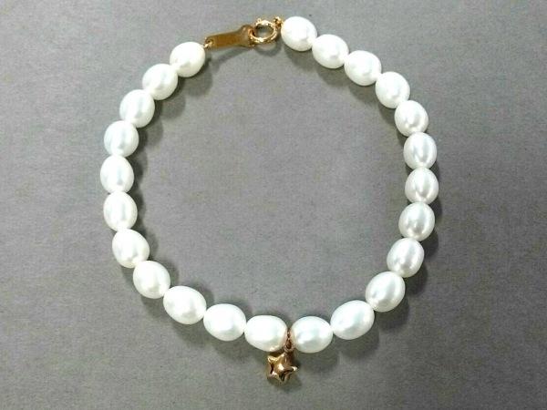 田崎真珠(タサキシンジュ) ブレスレット美品  パール×K18YG 白 フローラパール