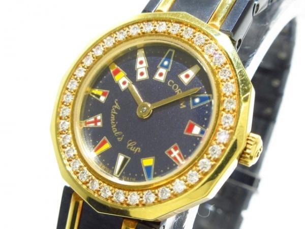 コルム 腕時計 アドミラルズカップ 24.812.33 V-52 レディース ダイヤベゼル ネイビー