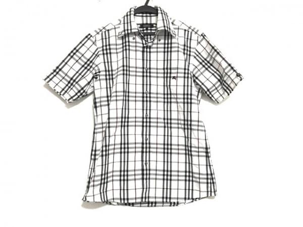 バーバリーブラックレーベル 半袖シャツ サイズ1 S メンズ美品  白×黒×ボルドー