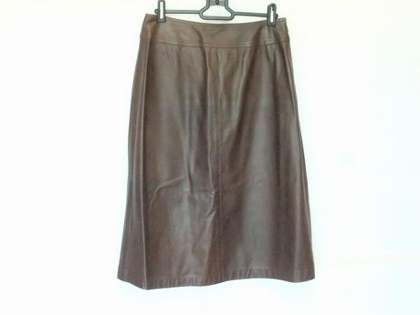 23区(ニジュウサンク) ロングスカート サイズ40 M レディース ダークブラウン レザー