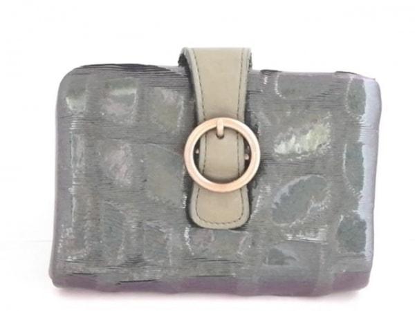 Anti-Forme(アンチフォルム) Wホック財布美品  ダークグリーン 型押し加工/がま口