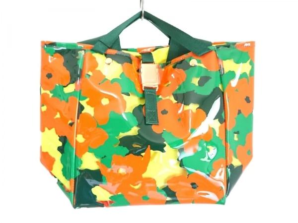 ミュベール トートバッグ グリーン×オレンジ×マルチ PVC(塩化ビニール)×化学繊維
