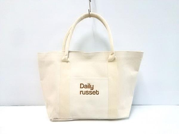 Daily russet(デイリーラシット) トートバッグ美品  白×ダークブラウン キャンバス