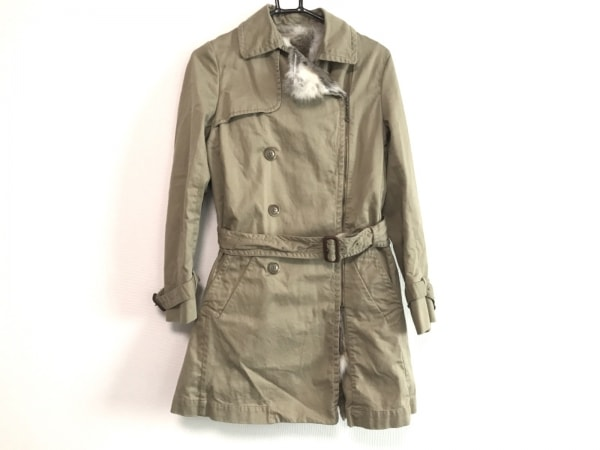 ブランバスク コート サイズ38 M レディース美品  ベージュ ジップアップ/ファー/冬物