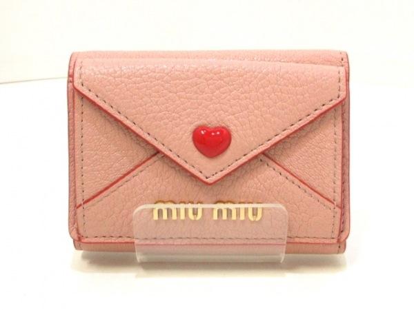 ミュウミュウ 3つ折り財布美品  マドラスラブ 5MH021 ピンク×レッド ハート レザー
