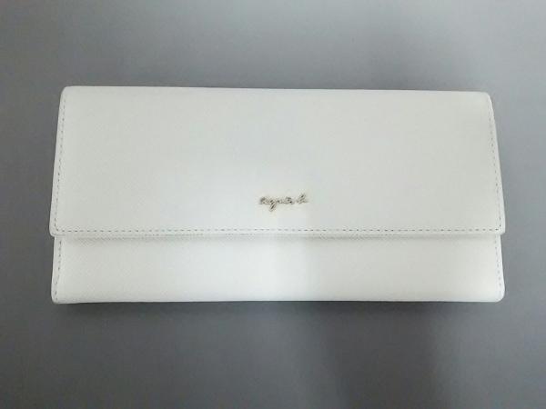 agnes b(アニエスベー) 長財布新品同様  MW09-04 白×ゴールド レザー
