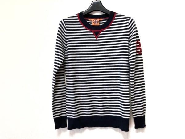トリーバーチ 長袖セーター サイズXS レディース ダークネイビー×アイボリー×レッド