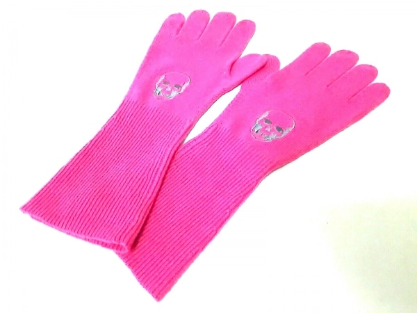 ルシアンペラフィネ 手袋 レディース ピンク×グレー スカル/刺繍 シルク×カシミヤ