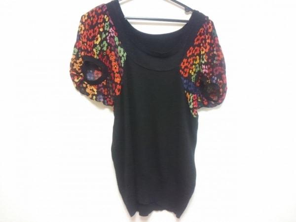 ツモリチサト 半袖セーター レディース 黒×レッド×マルチ 花柄/ラメ/袖異素材