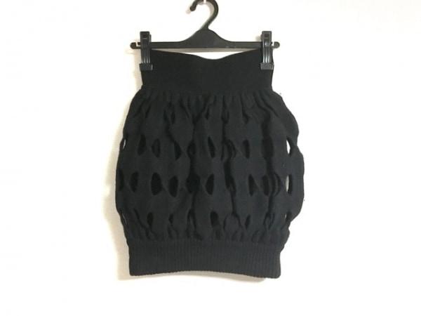 FENDI(フェンディ) スカート サイズ40 M レディース 黒 ニット/変形デザイン