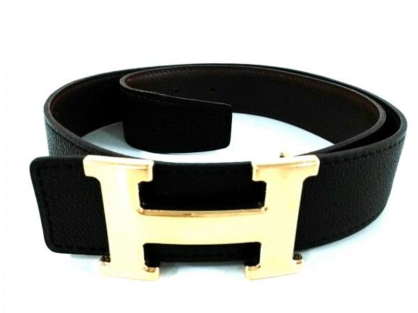 HERMES(エルメス) ベルト 75美品  □F 黒 ゴールド金具 レザー