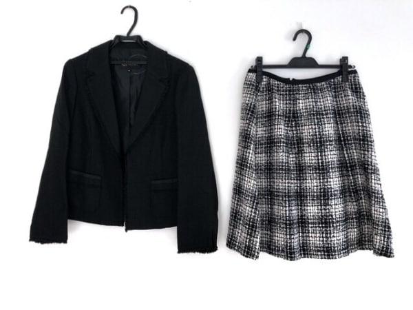 トウキョウソワール スカートスーツ サイズ15 L レディース美品  黒×白×マルチ