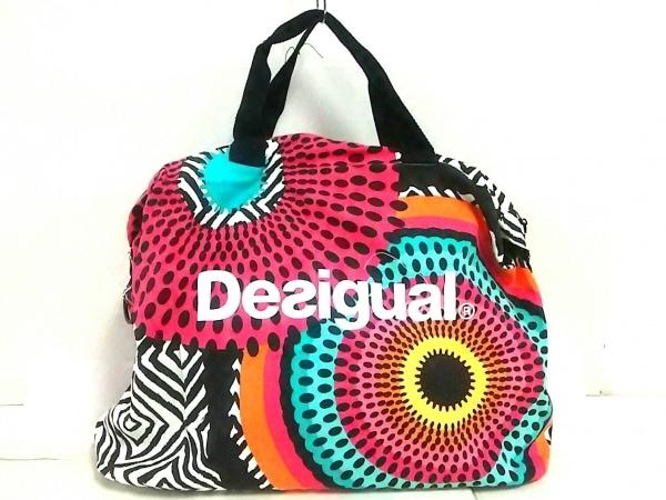 Desigual(デシグアル) ボストンバッグ ピンク×黒×マルチ ドット柄