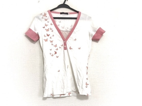 ドルチェアンドガッバーナ 半袖カットソー サイズ40 M レディース美品  白×ピンク 蝶