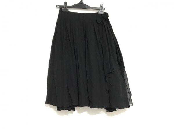 FOXEY(フォクシー) スカート サイズ40 M レディース美品  黒 シルク/プリーツ