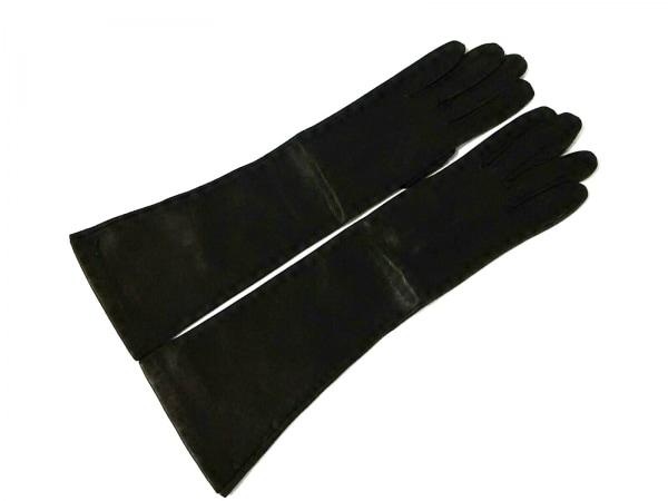 セルモネータグローブス 手袋 6 1/2 レディース ダークブラウン ロング丈 レザー
