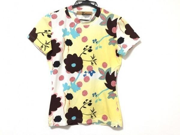 ジョンガリアーノ 半袖Tシャツ サイズS レディース 白×イエロー×マルチ 花柄
