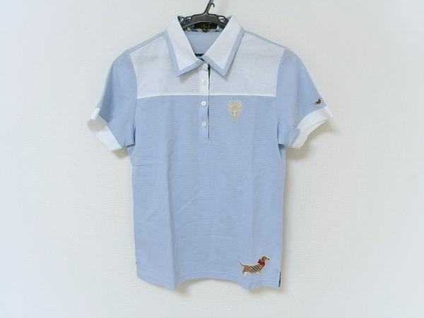 DAKS(ダックス) 半袖ポロシャツ レディース美品  ライトブルー×白×マルチ