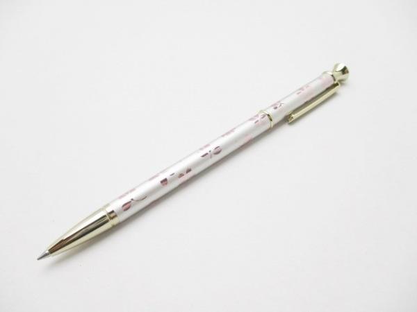 ミキモト ボールペン新品同様  シルバー×ピンク×ゴールド 花柄/インクあり(黒)