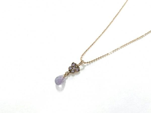 ANNA SUI(アナスイ) ネックレス美品  K10×カラーストーン パープル 蝶