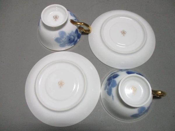 オオクラチャイナ カップ&ソーサー新品同様  白×ネイビー×ゴールド 陶器