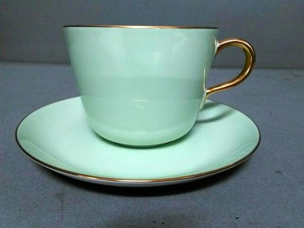 オオクラチャイナ カップ&ソーサー新品同様  ライトグリーン×ゴールド 陶器