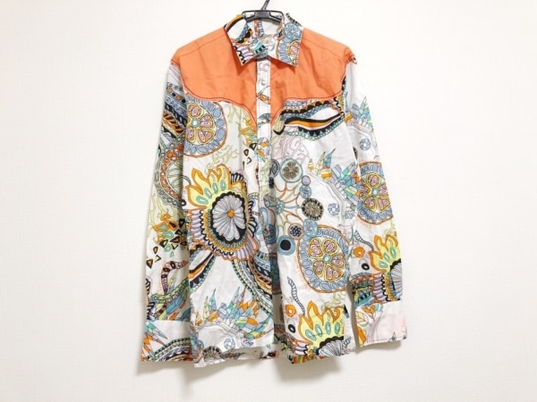 クリスチャンラクロワ 長袖シャツ メンズ美品  白×オレンジ×マルチ
