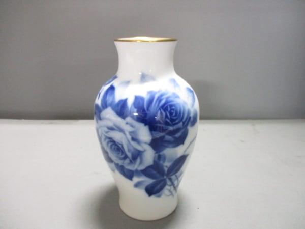 okura china(大倉陶園)(オオクラチャイナ) 小物新品同様  白×ネイビー 花瓶 陶器