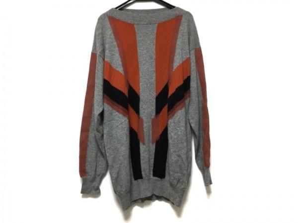 ボッテガヴェネタ 長袖セーター サイズ48 M メンズ美品  グレー×オレンジ×黒