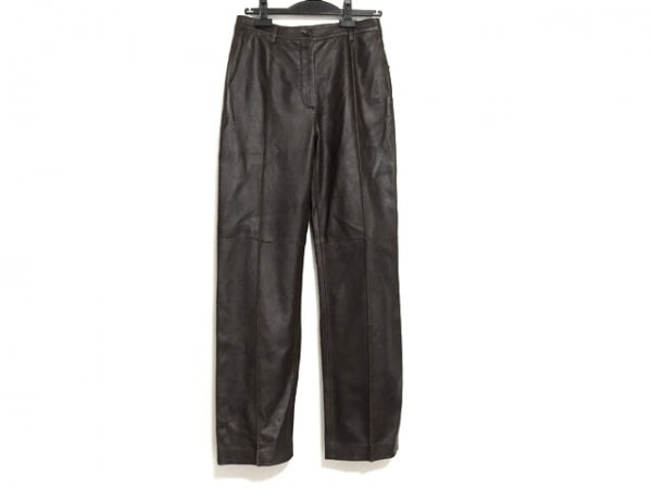 ボッテガヴェネタ パンツ サイズ40 M レディース ダークブラウン レザー
