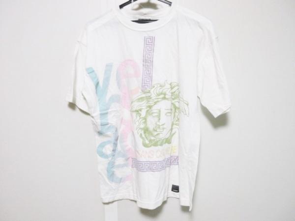 ヴェルサーチジーンズ 半袖Tシャツ サイズM メンズ 白×ライトグリーン×マルチ