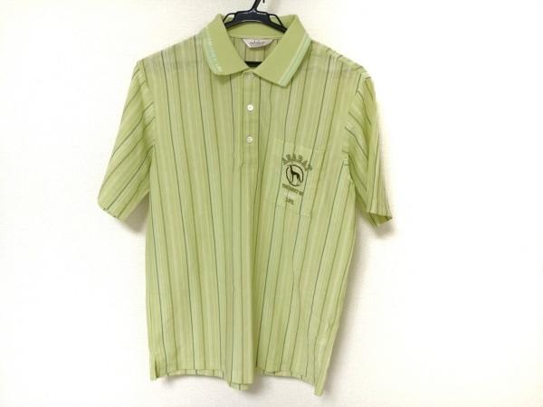 Adabat(アダバット) 半袖ポロシャツ メンズ ライトグリーン×マルチ ストライプ