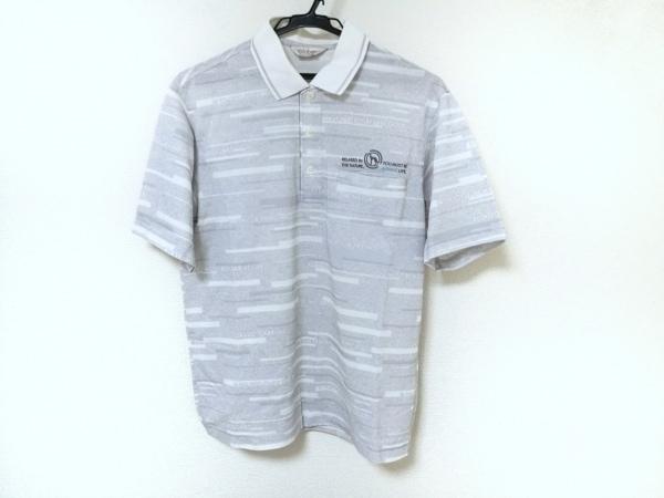Adabat(アダバット) 半袖ポロシャツ メンズ ライトグレー×白