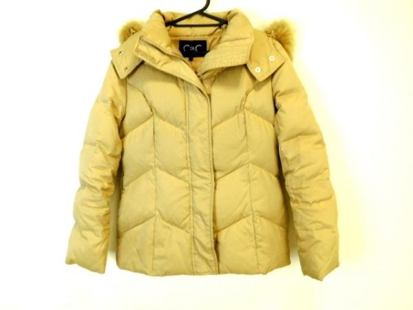 クードシャンス ダウンジャケット サイズ38 M レディース美品  ベージュ ファー/冬物