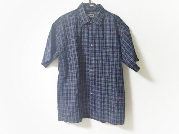 ダックス 半袖シャツ サイズL メンズ ダークネイビー×ネイビー×マルチ チェック柄