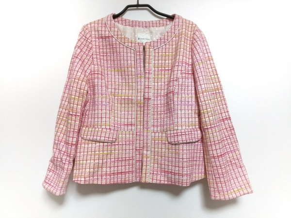 クミキョク ジャケット サイズ5 XS レディース美品  ピンク×イエロー×マルチ