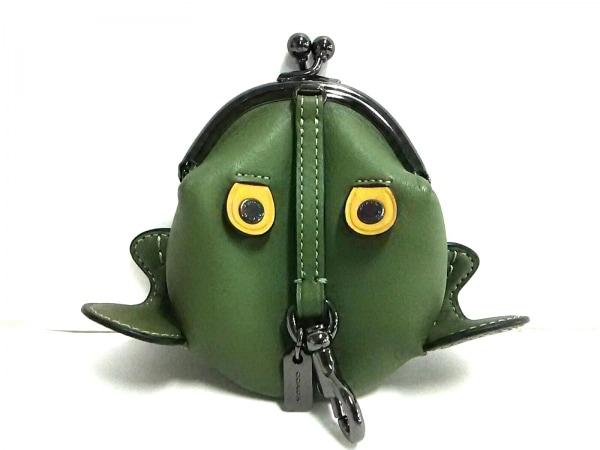 COACH(コーチ) コインケース美品  - 21094 カーキ×ベージュ×シルバー カエル/がま口