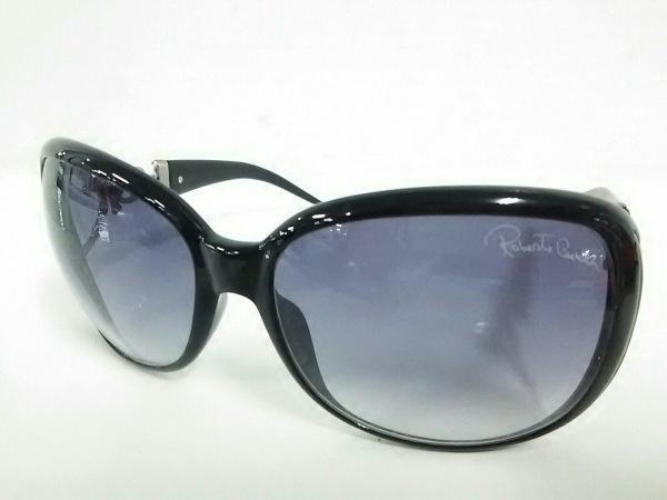 ロベルトカヴァリ サングラス 黒×シルバー ラインストーン プラスチック×金属素材