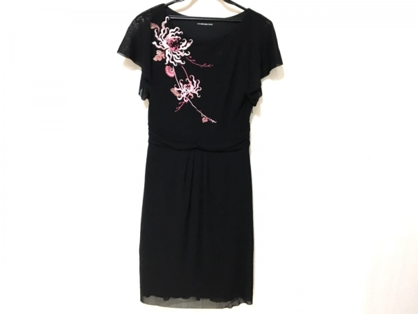 ヴィヴィアンタム ワンピース サイズ1 S レディース 黒×ピンク 刺繍/花柄