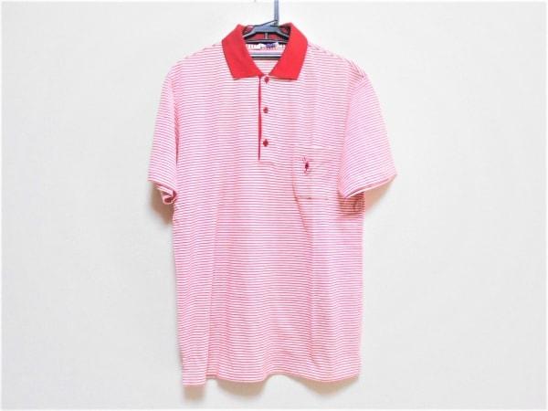 FUKUZO(フクゾー) 半袖ポロシャツ サイズ38 M メンズ レッド×白 ボーダー