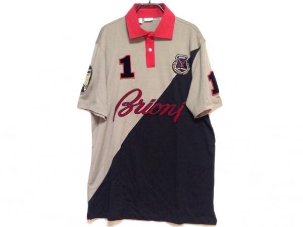 Brioni(ブリオーニ) 半袖ポロシャツ サイズXL メンズ グレーベージュ×黒×レッド