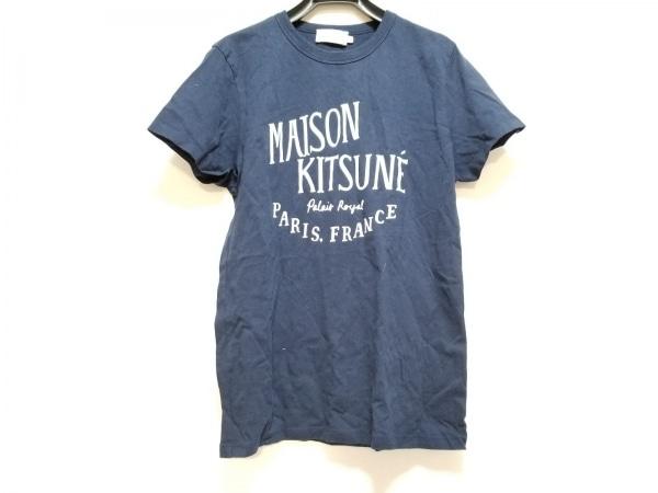 MAISON KITSUNE(メゾンキツネ) 半袖Tシャツ サイズXS メンズ ネイビー×白