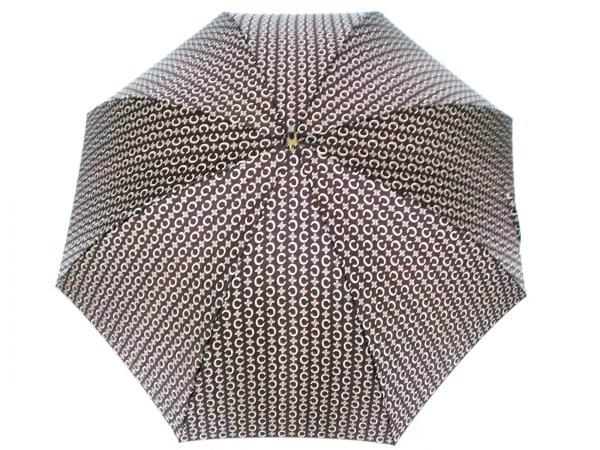 CELINE(セリーヌ) 傘美品  Cマカダム柄 ダークブラウン×ベージュ 化学繊維