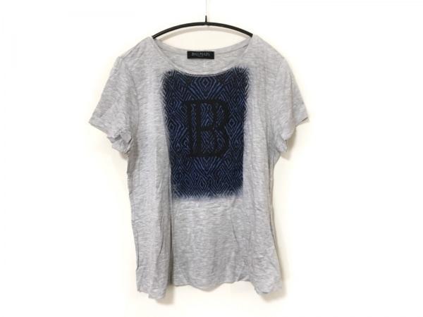 BALMAIN(バルマン) 半袖Tシャツ サイズ13 L レディース ライトグレー×黒×ブルー