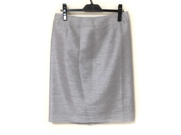 バーバリーロンドン スカート サイズ46 XL レディース美品  ライトグレー×シルバー