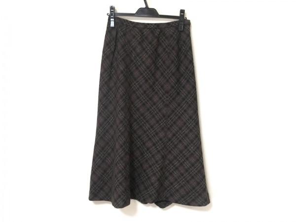レリアン ロングスカート サイズ11 M レディース 黒×ブラウン×マルチ チェック柄
