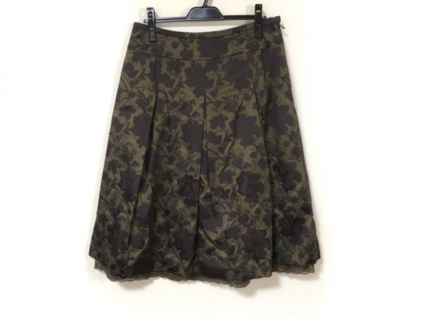 Leilian(レリアン) スカート レディース美品  ダークグリーン×ダークブラウン