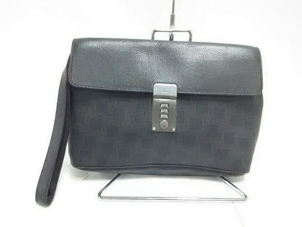 ダンヒル セカンドバッグ ダークブラウン×黒 PVC(塩化ビニール)
