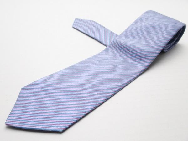Kiton(キートン) ネクタイ メンズ ブルー×ライトブルー×ピンク ストライプ