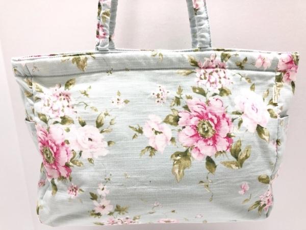 ローラアシュレイ ショルダーバッグ ライトブルー×ピンク×グリーン 花柄 コットン